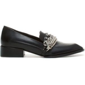 Zara black leather silver chain loafers